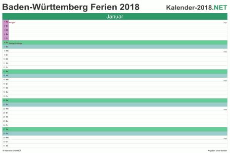 Vorschau EXCEL-Monatskalender 2018 mit den Ferien Baden-Württemberg
