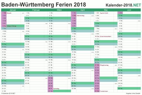 Vorschau EXCEL-Halbjahreskalender 2018 mit den Ferien Baden-Württemberg