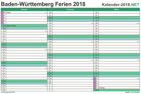 Vorschau EXCEL-Quartalskalender 2018 mit den Ferien Baden-Württemberg