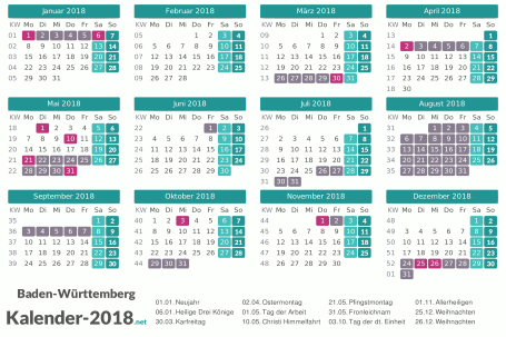 Ferien 2018 + Feiertage zum Ausdrucken - Baden-Württemberg Vorschau