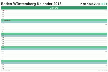 Vorschau Monatskalender 2018 für EXCEL Baden-Württemberg