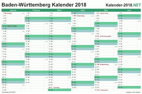 Vorschau Halbjahreskalender 2018 für EXCEL Baden-Württemberg