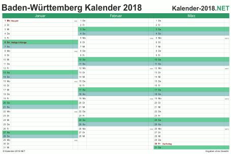 Vorschau Quartalskalender 2018 für EXCEL Baden-Württemberg