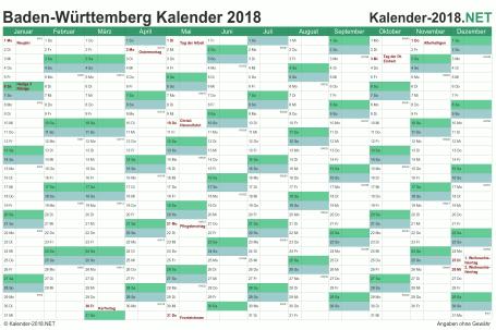 Vorschau Kalender 2018 für EXCEL mit Feiertagen Baden-Württemberg