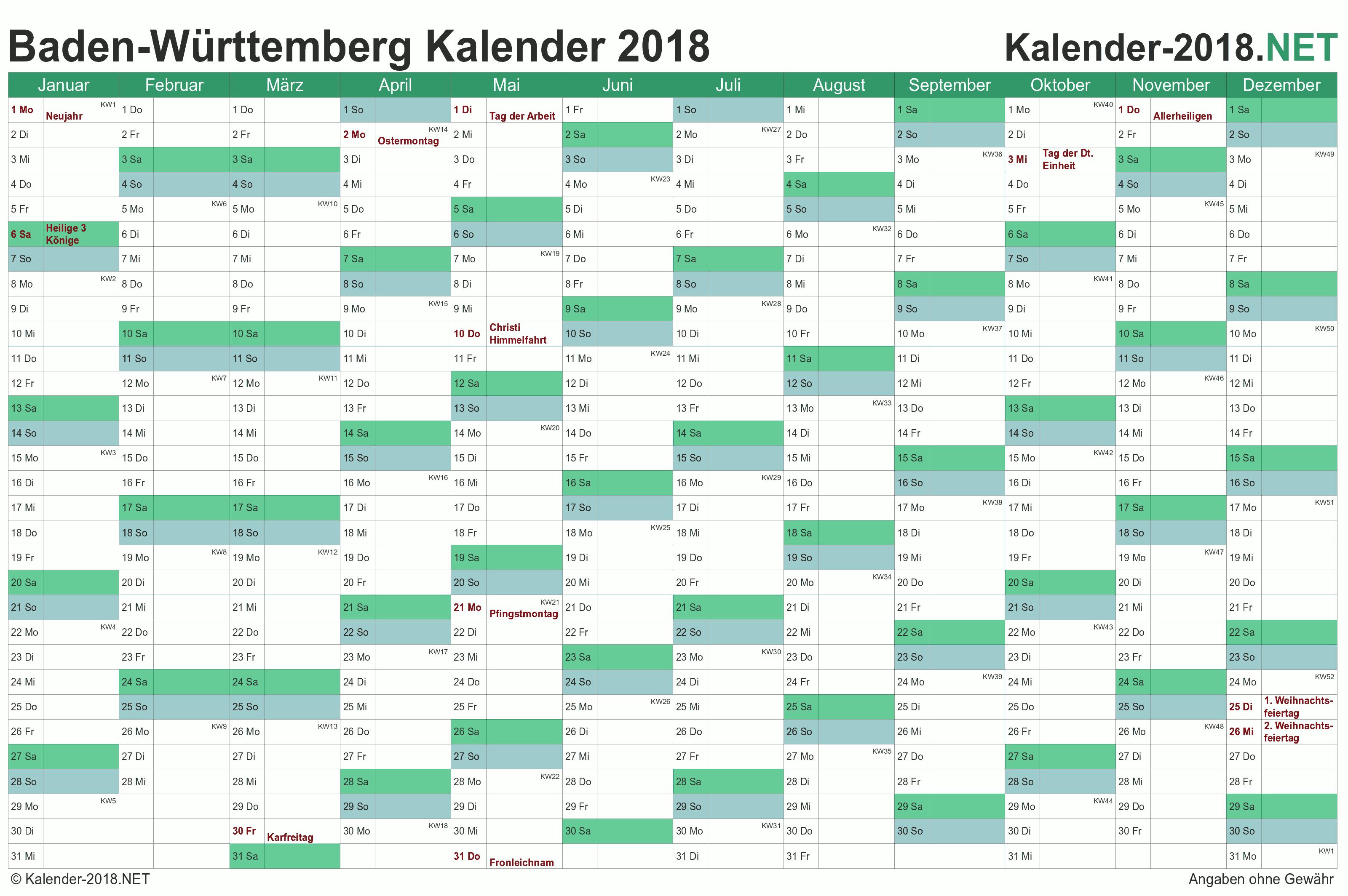 kalender 2018 baden w rttemberg. Black Bedroom Furniture Sets. Home Design Ideas