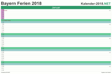 Vorschau EXCEL-Monatskalender 2018 mit den Ferien Bayern