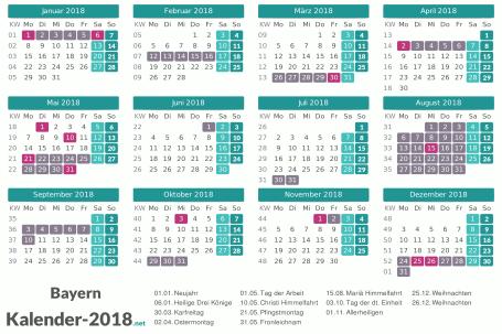 Kalender mit Ferien Bayern 2018 Vorschau