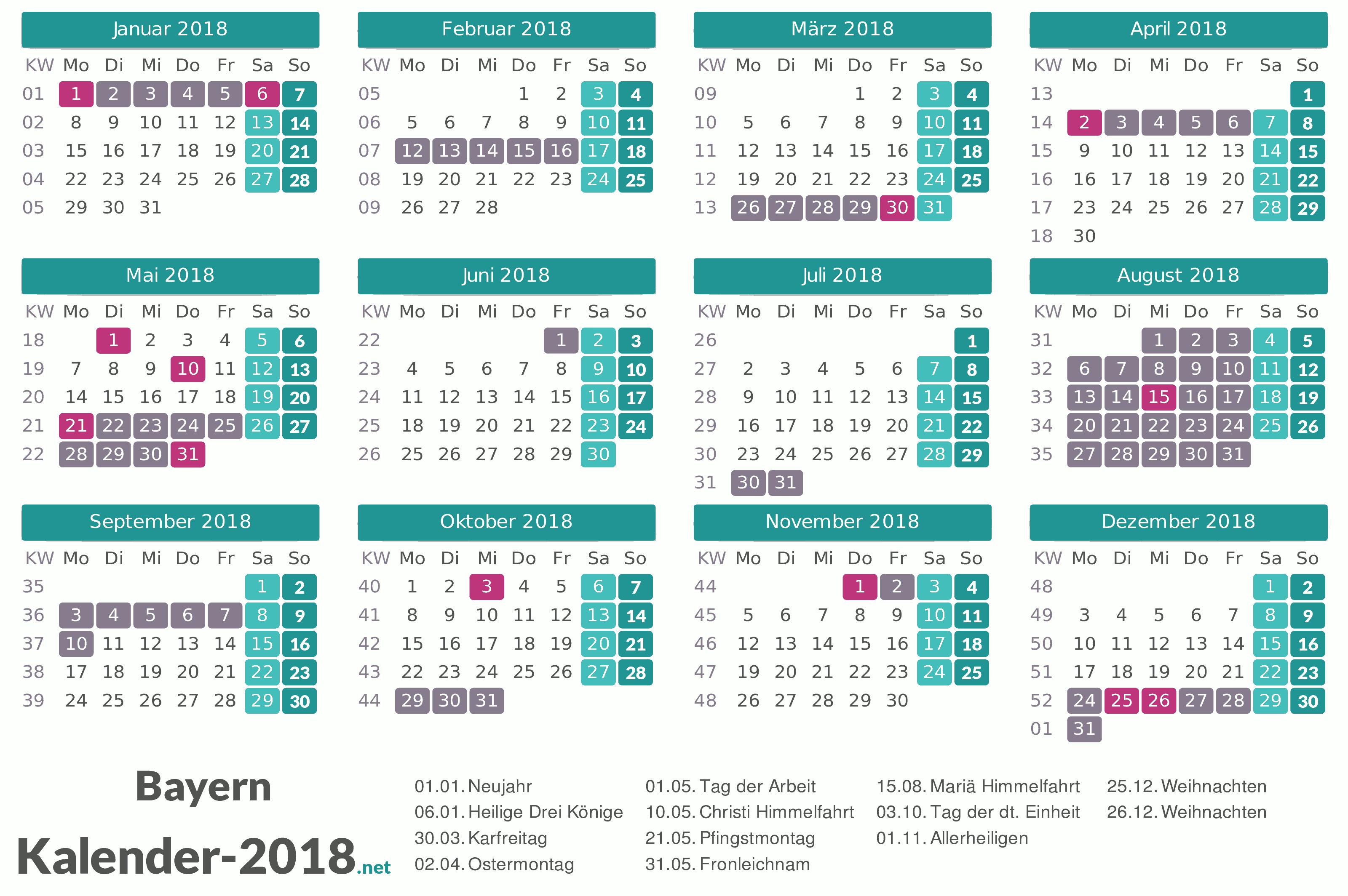 ferien bayern 2018 ferienkalender bersicht. Black Bedroom Furniture Sets. Home Design Ideas