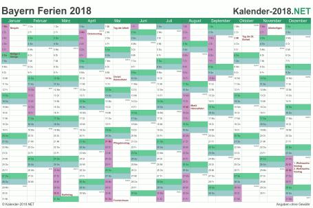 Vorschau EXCEL-Kalender 2018 mit den Ferien Bayern