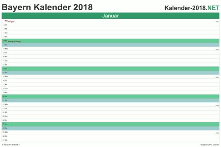 Vorschau Monatskalender 2018 für EXCEL Bayern