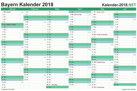 Vorschau Halbjahreskalender 2018 für EXCEL Bayern