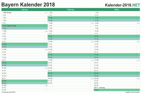 Vorschau Quartalskalender 2018 für EXCEL Bayern