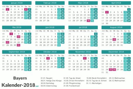 Feiertage Bayern 2018 zum Ausdrucken Vorschau
