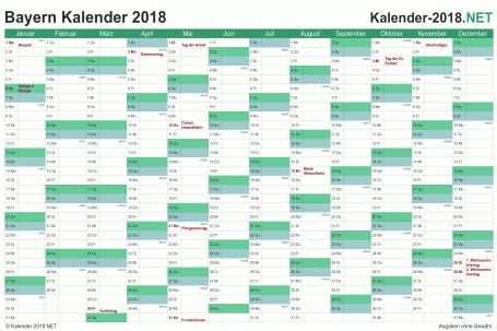 Vorschau Kalender 2018 für EXCEL mit Feiertagen Bayern