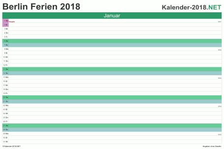 Vorschau EXCEL-Monatskalender 2018 mit den Ferien Berlin