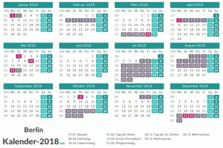 Ferien 2018 + Feiertage zum Ausdrucken - Berlin Vorschau