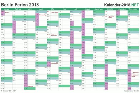 Vorschau EXCEL-Kalender 2018 mit den Ferien Berlin
