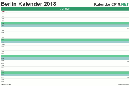 Vorschau Monatskalender 2018 für EXCEL Berlin