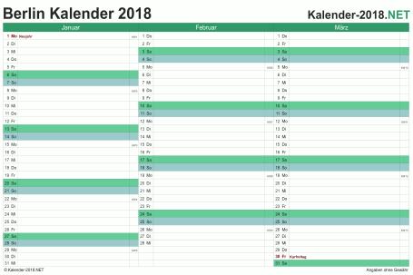 Vorschau Quartalskalender 2018 für EXCEL Berlin