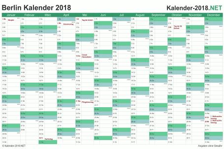 Vorschau Kalender 2018 für EXCEL mit Feiertagen Berlin