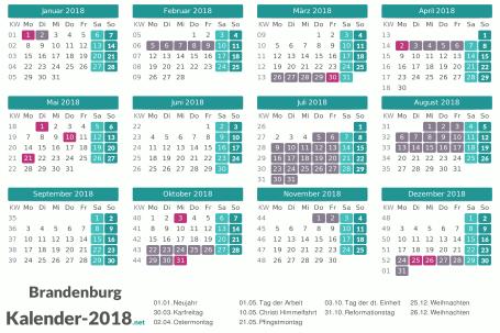 Kalender mit Ferien Brandenburg 2018 Vorschau