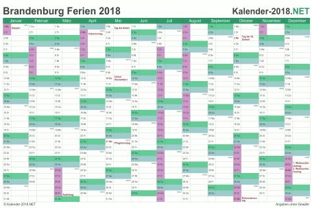 Vorschau EXCEL-Kalender 2018 mit den Ferien Brandenburg