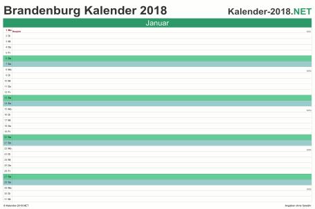 Vorschau Monatskalender 2018 für EXCEL Brandenburg