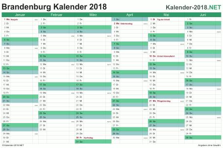 Vorschau Halbjahreskalender 2018 für EXCEL Brandenburg
