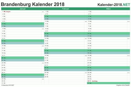 Vorschau Quartalskalender 2018 für EXCEL Brandenburg