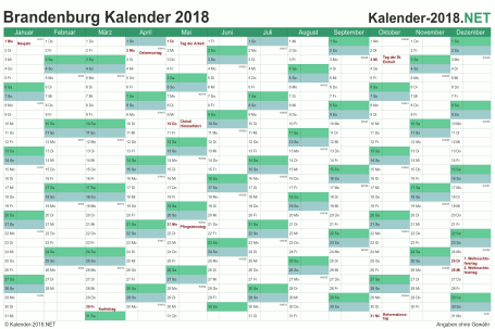 Vorschau Kalender 2018 für EXCEL mit Feiertagen Brandenburg