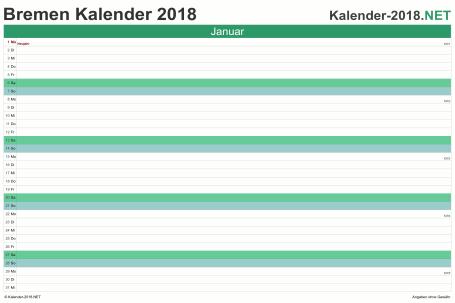 Vorschau Monatskalender 2018 für EXCEL Bremen