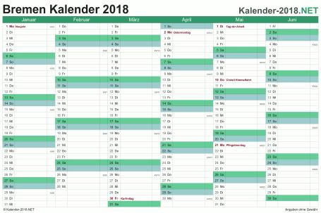 Vorschau Halbjahreskalender 2018 für EXCEL Bremen