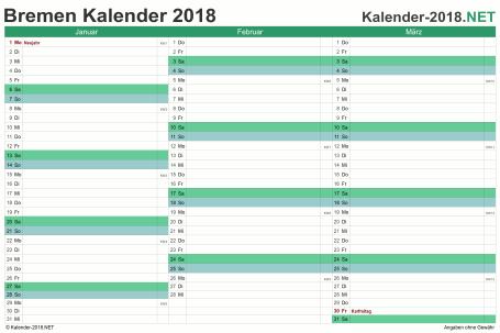 Vorschau Quartalskalender 2018 für EXCEL Bremen