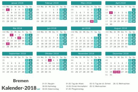 Bremen Kalender 2018 + Feiertage Vorschau