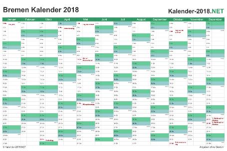 Vorschau Kalender 2018 für EXCEL mit Feiertagen Bremen