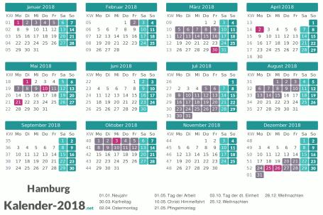 Kalender mit Ferien Hamburg 2018 Vorschau