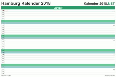 Vorschau Monatskalender 2018 für EXCEL Hamburg