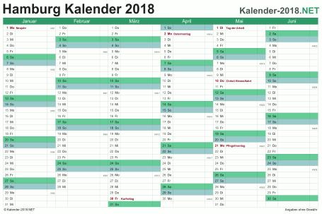 Vorschau Halbjahreskalender 2018 für EXCEL Hamburg