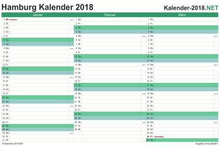 Vorschau Quartalskalender 2018 für EXCEL Hamburg