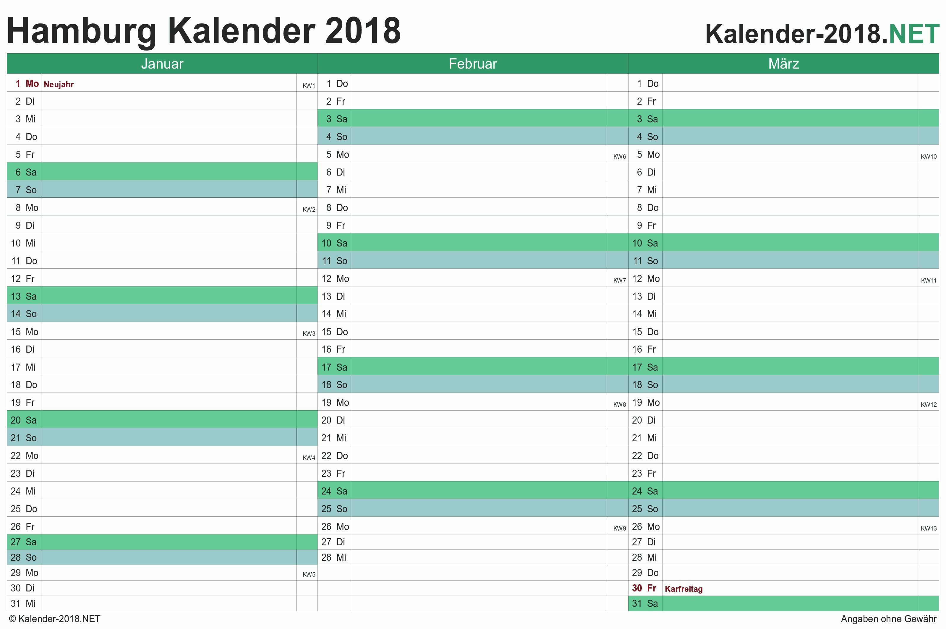 Kalender 2018 Hamburg
