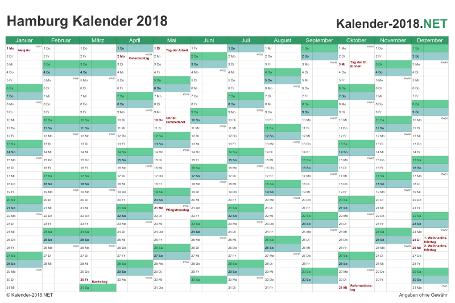 Vorschau Kalender 2018 für EXCEL mit Feiertagen Hamburg
