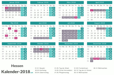 Kalender mit Ferien Hessen 2018 Vorschau