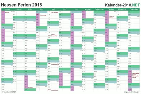Vorschau EXCEL-Kalender 2018 mit den Ferien Hessen