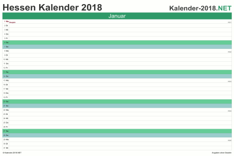 Vorschau Monatskalender 2018 für EXCEL Hessen