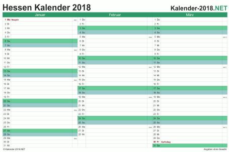 Vorschau Quartalskalender 2018 für EXCEL Hessen