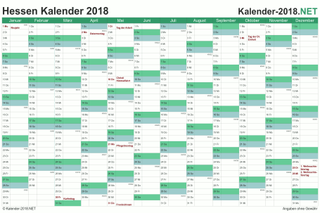 Vorschau Kalender 2018 für EXCEL mit Feiertagen Hessen