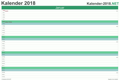 Vorschau Monatskalender 2018 für EXCEL Deutschland