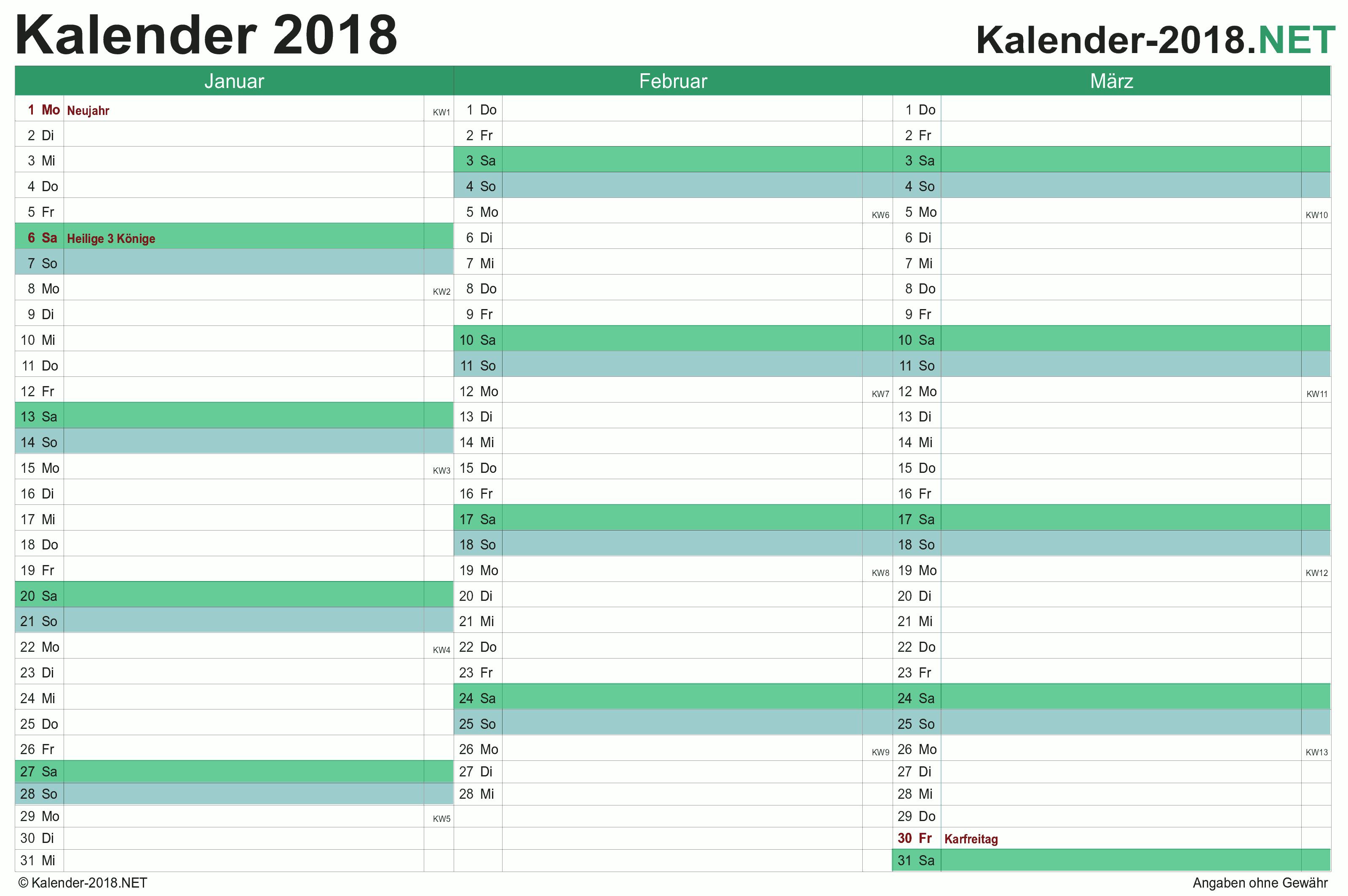 Kalender 2018 mit feiertagen ferien quartalskalender 2018 stopboris Image collections