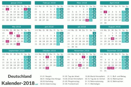 Kalender 2018 mit Feiertagen Vorschau