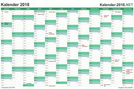 Vorschau Kalender 2018 für EXCEL mit Feiertagen Deutschland